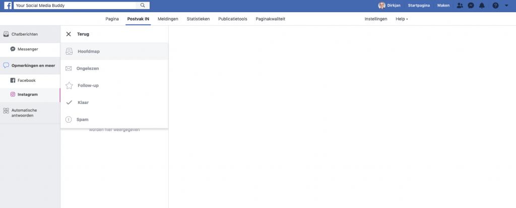 Facebook Postvak IN: mappen structuur