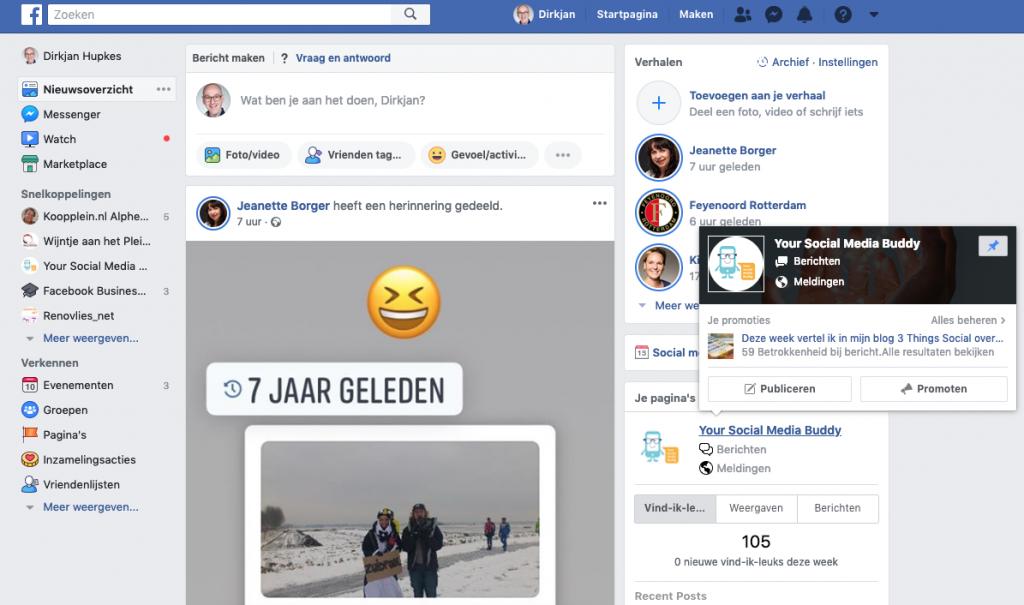 Facebook Postvak IN: vanuit Hoofdmenu