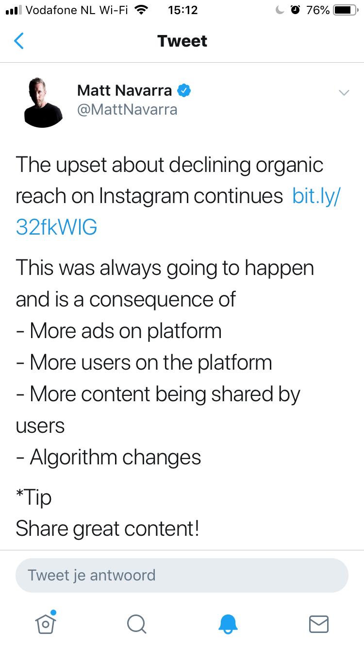 Instagram likes: tweet Matt Navarra