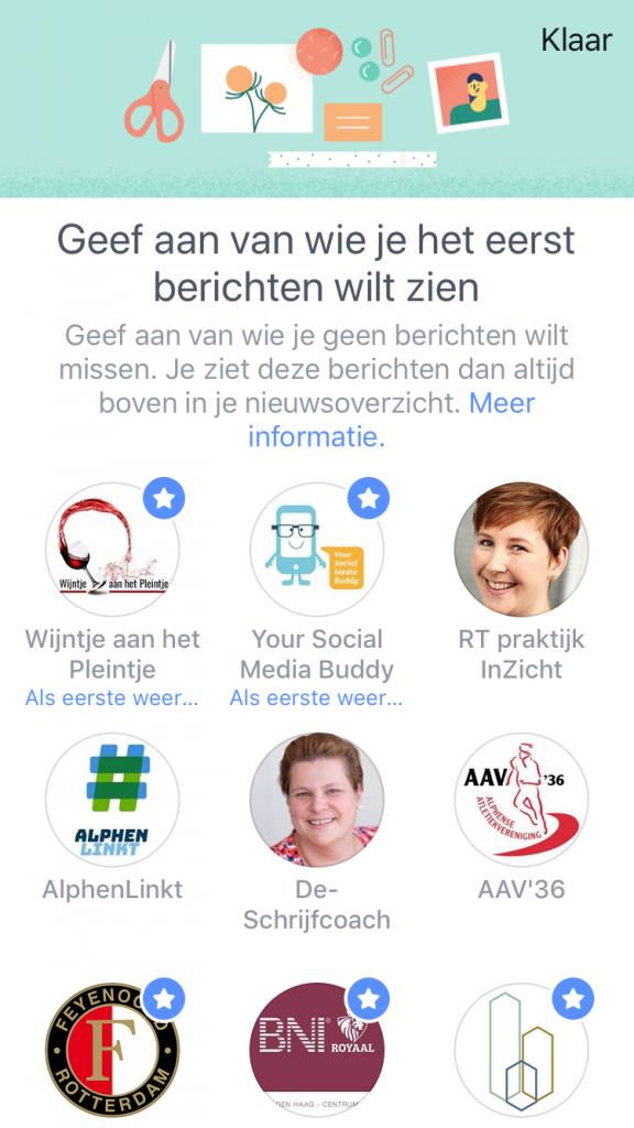 Wat wil je als eerste zien op Facebook?