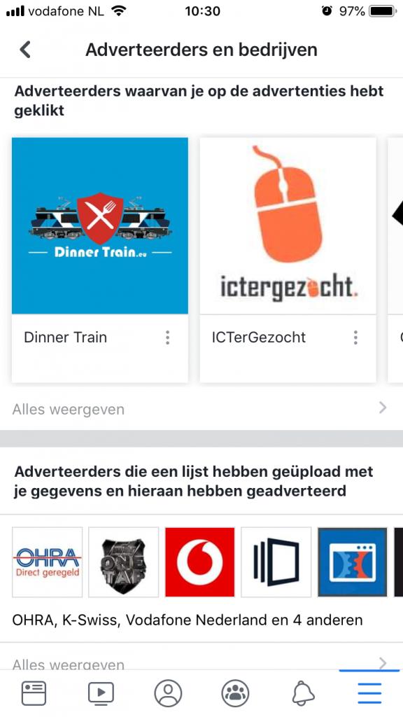 Van welke bedrijven heb je op advertenties geklikt?